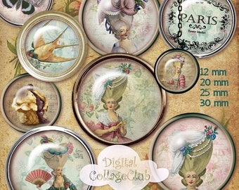 80 % off Summer Sale Shabby Chic Marie Antoinette Digital Collage Sheet 12 mm, 20 mm, 25 mm, 1 inch, 30 mm Round Images for Jewelry Making