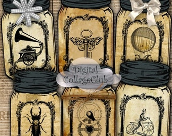 80 % off Graphics SaLe Steampunk Mason Jar Digital Labels Tags Cards Scrapbooking Decoupage ATC Aceo Digital Collage Sheet Instant Download