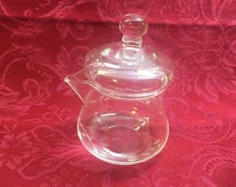 Princess House Etched Crystal Glass Creamer, Heritage Pattern, Etched Floral Creamer, Lidded Creamer, Mustard Jar, Condiment Jar, Honey Pot