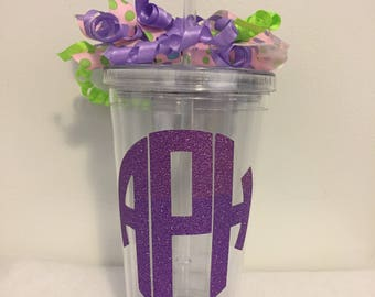 Monogramed/Personalized Double Wall 16oz Tumbler - Circle Monogram