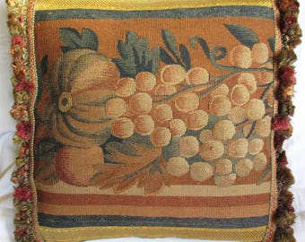 Square Antique Hand Woven Tapestry Cushion - Pillow - 1800s - Melon & Grapes