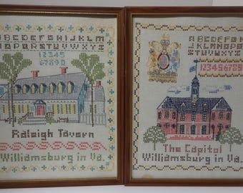 Collection of 4 Williamsburg VA Crossed Stitched Buildings Framed Pictures
