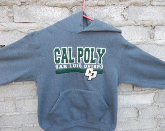 Retro Sweatshirt Cal Poly San Luis Obispo University California Grey Hoodie Sports Athletic Preppy College Distressed Adult  1990s 90s