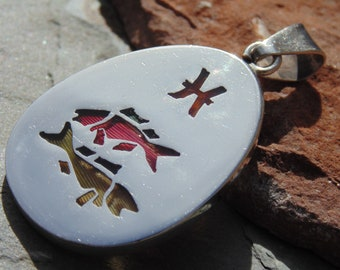 Mexican Sterling Silver and Dyed Feathers Pisces Pendent