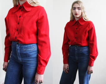 1970's Red Mod Retro Blouse