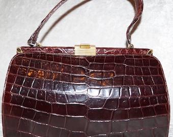 50's 60's Croco Bag Kelly Bag Handle Bag