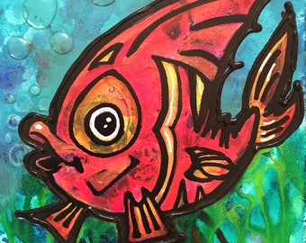 Canvas Art Beach Fish Painting Nautical Kids Underwater Sea Ocean