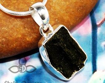 Moldavite Rough Pendant, Moldavite Rough Gemstone, Moldavite Pendant, Silver Pendant, Solid Silver Pendant, Mother Days Gift Idea, Jewellery
