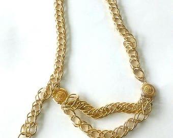 CHRISTMAS in JULY SALE Vintage 80's Gold Link Chain Liz Claiborne Designer Belt / Nautical/  Chunky Link Belt / Classic Vintage Belt / Adjus