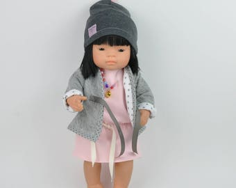 Miniland Doll Clothing , Miniland doll, Miniland doll jacket, doll jacket, doll dress, doll beanie, 3 pieces doll clothes