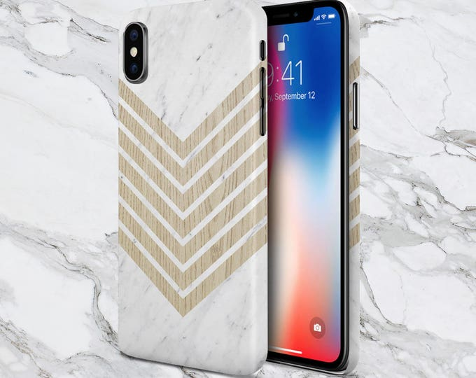 Featured listing image: Samsung Galaxy s9 Phone Case - Protective Phone Case - iPhone X Case - Google Pixel 2 case - White Marble Chevron x Wood Design Phone Case