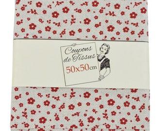 """100% cotton fabric coupon """"Burgundy flora"""" 50cm X 50 cm"""