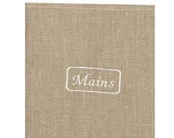 "Tea towel embroidered ""Hands"" 50X70cm ""Naturally linen"""