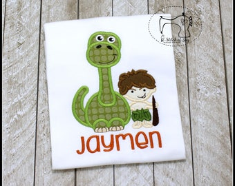 Boys Dinosaur Shirt, Toddler Dinosaur Shirt, Personalized Dinosaur Shirt, Dinosaur and Caveman Shirt, Applique Embroidered Shirt