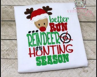 Boys Christmas Shirt, Toddler Christmas Shirt, Baby Christmas Bodysuit, Better Run Reindeer it's Hunting Season, Christmas, Reindeer, Hunt