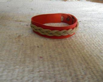 Two-tone leather bracelet red / ecru