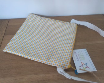 Waterproof pouch for pool yellow white geometric print