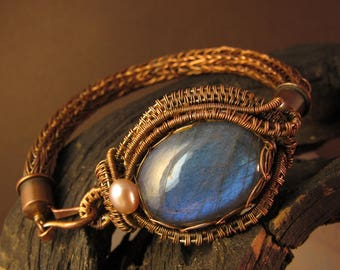 Copper Viking Knit Bracelet w/ Blue Labradorite / Copper Woven Jewelry / Hand Made Jewelry / Wire Wrapped Jewelry / Labradorite