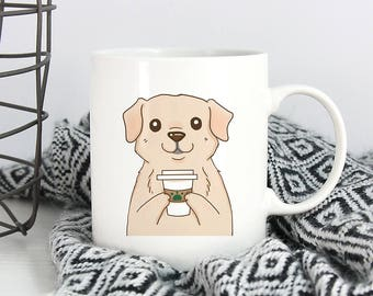 Yellow Labrador Retriever Drink Coffee Mug, Dog Coffee Mugs, Funny Coffee Mug, Dog lover gift Cup Mug