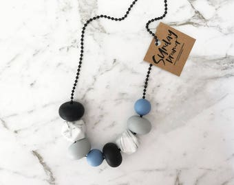Mixed powder blue + marble necklace