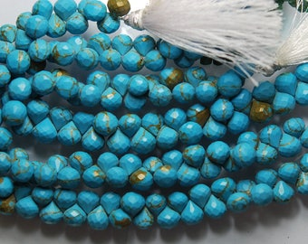 8.5'' Strand, Very Finest, Copper Turquoise Faceted Onion Briolettes, Size 7.5-8mm