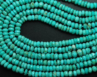 13 Inches Strand, AAA Natural Arizona Sleeping Beauty Turquoise Rondelles, 4-4.5mm