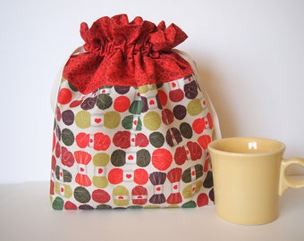 """Knitting Project Bag, LARGE, original yarn fabric, drawstring, 12"""" x 12"""", perfect for yarn, knitting, sewing or crochet. Store and organize"""