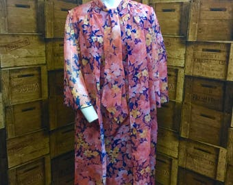 Peggy French peach floral 1960/70 vintage dress, large size vintage, evening dress and over jacket, vintage couture dress, Hattie Jacques