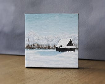 Winter Landscape, Barn Painting, Snowy Field, Miniature Art, Farmhouse Decor, Farm Painting, Winter Wall Art, Country Landscape, Mini Canvas