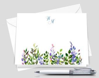 Monogrammed Note Cards, Monogram stationary, personalized stationary   _ Set of 12 with Envelopes _ Signature Collection _ HWM018