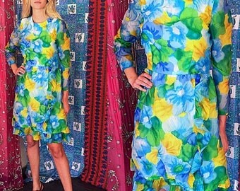 Sale Vintage 60s Dress Mod Party Dress Floral Ruffled Dress