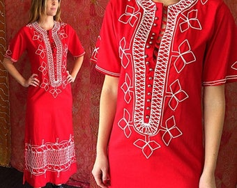 Sale Vintage 70s Dress Asian Ethnic Dress Red Thai Embroidered Caftan