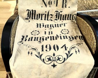 1904' Antique German linen grain sack. Original...not a reproduction.
