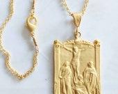 Necklace - Le Christ Sur La Croix - 18K Gold Vermeil - 28x43mm + 18 inch 18K Gold Vermeil Chain