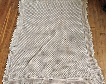 Vintage handmade baby bed cover crochet, cotton heirloom bedspread coverlet, beginning of 20th century crochet cotton bed throw