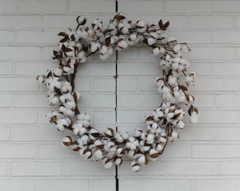 "23"" Country Farmhouse Cotton Wreath - Cotton Ball Wreath - Rustic Cotton Wreath - Southern Cotton Wreath - Valentines Day Wreath"