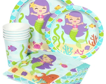 Mermaid Party Theme Birthday Celebration Pack Service For 16 - Includes Tablecover & Balloons!