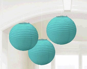 Set Of Three 9 1/2 Inch Turquoise Paper Lanterns - Wedding - Anniverary - Birthday - All Occasion Party Decor