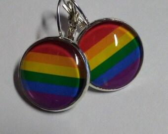 Bronze gay LGBTQ Pride rainbow earrings