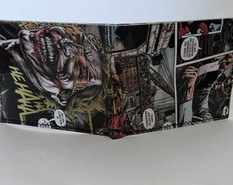 comic book wallet, slim wallet, hanmade wallet, card holder, thin wallet, vinyl wallet, mens wallet, joker 6