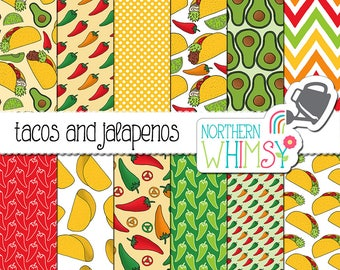 Taco Digital Paper - scrapbook paper with jalapeno, avocado, and taco seamless patterns for commercial use