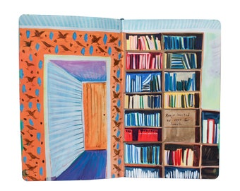 "Fine Art Print of Painting from Artist Sketchbook - ""Color Coded Library in Finland"""