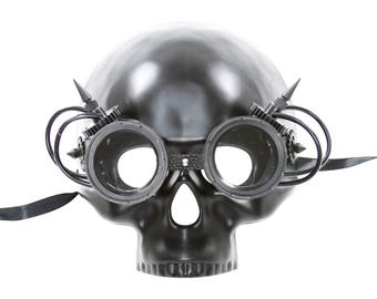 Steampunk Full Face Skull Mask with Goggles for Eyes and Adjustable