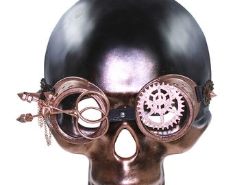 Full Face Plain Steampunk Mask with Gear Goggles and Adjustable