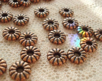 7mm Antique Copper Wheel Spacers. 36pcs  Lovely, Solid, Heavy, Fluted Copper Disk Flower Spacers. 7x2mm--Big Hole 2mm.  ~USPS Ship Rates /OR
