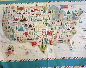 World Map Fabric Windham. Coast to by Whistler Studios for Windham Fabrics Usa map fabric panel  Etsy