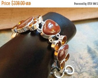 Holiday SALE 85 % OFF Jasper  Citrine   Bracelet Gemstone  .925 Sterling  Silver