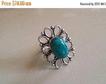 Holiday SALE 85 % OFF Turquoise  Size 7  Ring Gemstone. 925 Sterling  Silver