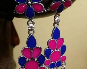 Holiday SALE 85 % OFF Lapis lazuli Onyx  Sterling silver Earrings Gemstone  .925