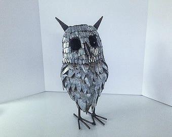 Midcentury Modern Owl, Brutalist Style, Rustic Metal Sculpture